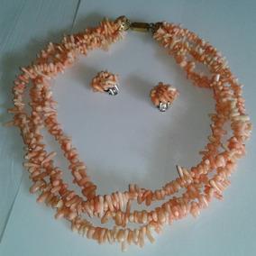 Colar Coral Podange Rosa Antigo Original Argentina 47 Cm