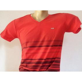 Camiseta Gola V Degradê Listrada