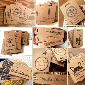 Tags Etiqueta Colgante Souvenir Papel Madera Kraft + Hilo