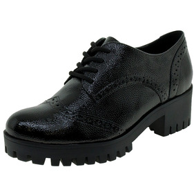 d19d75429 Sapato Oxford Feminino Preto Fosco Via Marte - Sapatos no Mercado ...