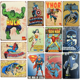 Póster Metálico Super Heroes Vintage