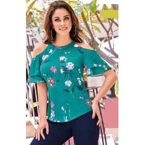 Blusa Verde Hombro Descubierto C/flores Cklass 405-05