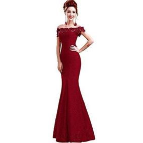 Vestido Sirena Graduacion Madrina Boda Fiesta Elegante Rojo