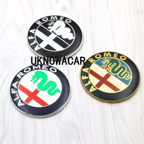 Kit 2 Emblemas Capo Porta Malas Alfa Romeo Par 74mm Aluminio