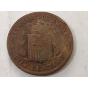 España 10 Centimos 1877 Alfonso X I I Moneda Excelente