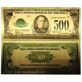 Estados Unidos Billete De 500 Dólares Con Baño De Oro 24 K
