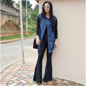 Colete Jeans Comprido Feminino P M G Gg