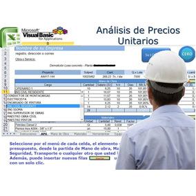 Sistema Análisis De Precios Unitarios Excel Macros (+video)