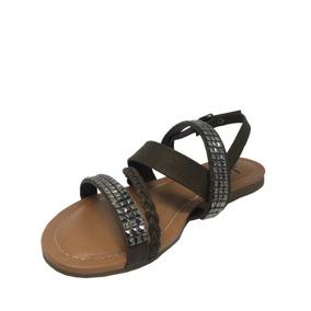 Sandália Rasteirinha Com Pedras Tiras Com Strass Da Moda