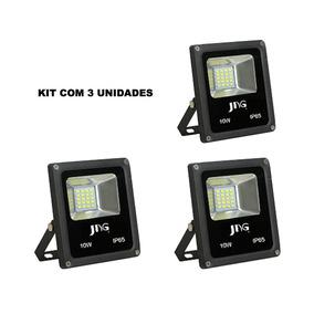 Kit 3x Refletor Super Led Jng Eco 10w 6500k Branco Frio Biv