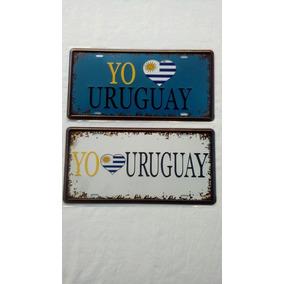 Chapa Matricula Retro Vintage Uruguay Con Relieve