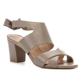Sandália Couro Shoestock Salto Bico Slingback Feminina