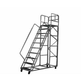 Escalera Metálica Móvil Prontometal 9 Escalones Con Ruedas