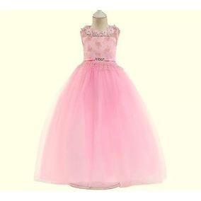 Vestido Infantil Festa Daminha Formatura Longo Branco Rosa