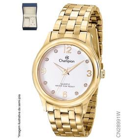 Relógio Feminino Dourado Champion Cn28991w + Colar E Brinco