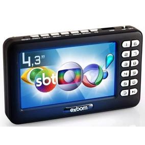 Tv Portatil Digital Tela 4.3 Fm Bateria Interna Microsd
