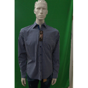 Camisa Caballero M/l Huggo Valentino Azules Varios Modelos