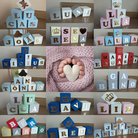 Dm Kit 12 Cubo Mdf Dado Nome Bebê Desenho Enfeite Newborn