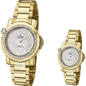 2e25f874354 Relógio Champion Passion Dourado Coração Strass Cn28660h - Relógios ...