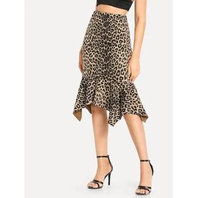 Falda Bajo Fruncido De Leopardo