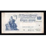 5 Pesos Moneda Nacional Progreso Bottero 1876a Error N° Ley