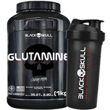 Glutamine 1kg + Shaker - Black Skull - Caveira Preta