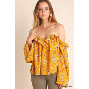 Blusa Off Shoulders Strapple De Flores, No Bershka, No Zara
