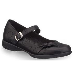 Zapato Escolar Color Negro Estilo Mary Jane De Piel Andrea