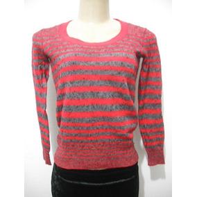Blusa Listrada Tipo Lã Tam P Calvin Klein Vicose Nilon Algod