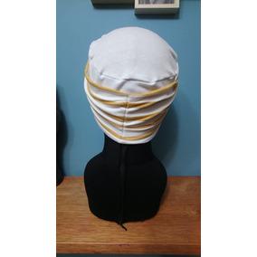 Turbante De Likra De Algodón Modelo Dot Blanco