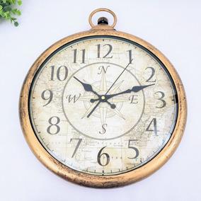 7dc5ac38cef Relógio Parede Decorativo Dourado Mapa Bússola 42x36cm