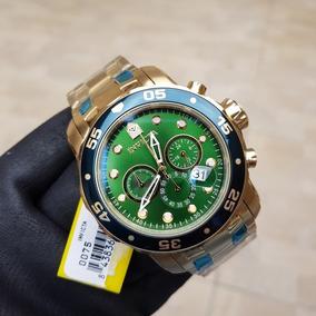 aa2b343b9c8 Relógio Invicta Pro Diver 0075 Verde Dourado B Ouro 18k