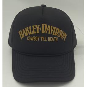 Boné Trucker Preto Silk Harley Davidson Cowboy Till Death Hd 30d78dbf107