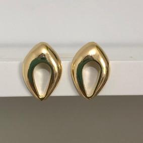 Brinco Feminino Dourado Gota Vazada Delicado Ouro