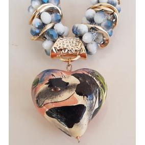 Collar Dije Corazon Ceramica Caballo
