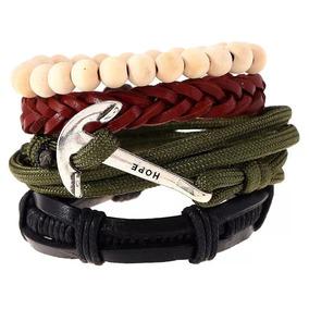 Kit Pulseira Bracelete Masculina Couro Legítimo
