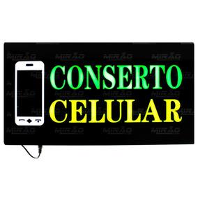 Placa Painel Luminosa Led Conserto Celular 49 Cm X 24 Cm