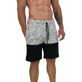 Bermuda Moletom Slim Treino Chamuscado Bicolor Rajado Shorts