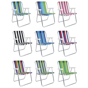 Cadeira De Praia Alta De Alumínio Mor