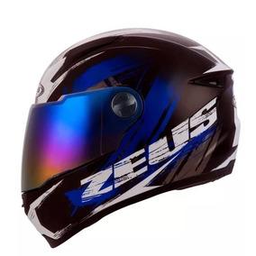 Capacete Moto Fechado Zeus 811 Solid Preto Al8 Preto Azul