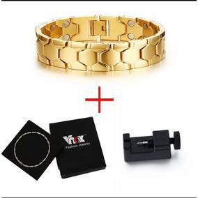 Pulseira Banhada Ouro 18k Maciço Prata Magnética Aço Inox316