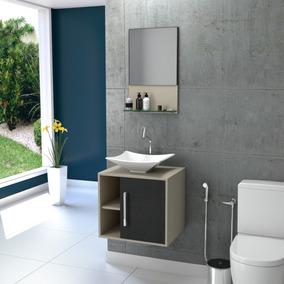 Gabinete P/banheiro Quadratta C/cuba Folha L38 +espelheira #