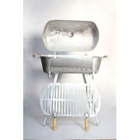 Churrasqueira A Carvao De Aluminio Redonda Com Pes