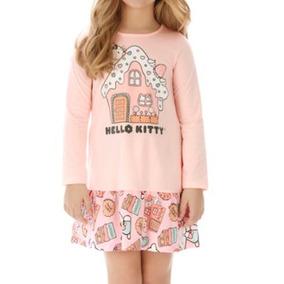 e140697f24 Vestido Camisola Infantil Bebe Hello Kitty Nova 2 Babados