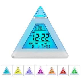 Relógio Despertador Digital Pirâmide Led 7 Cores Colorido