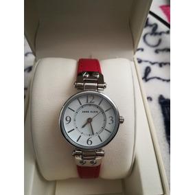 Reloj Anne Klein Original Rojo Plata Piel Nuevo Dama
