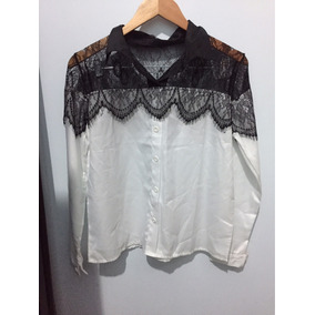 Camisa Feminina Com Renda Tamanho M 1de92b164b9