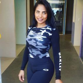 5fffb8c359012 Cropped Feminino Blusa Oakley Manga Longa Camiseta Oferta