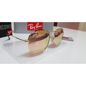 Óculos Sol Ray-ban Hexagonal Lens Metal Rb3548 Rosê Espelhad 1b00c053e1