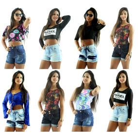 Kit 2 Shorts Curto Jeans Feminino Cintura Alta
